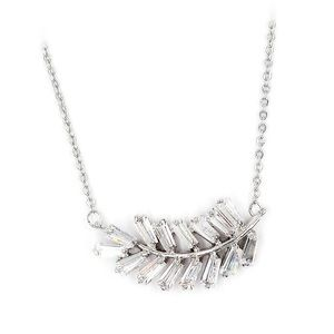 Fashion silver small crystal feather necklace